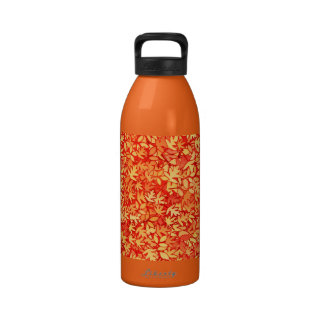 Autumn leaves orange and gold reusable water bottle
