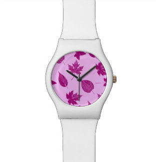 Autumn leaves - plum and orchid pink watch