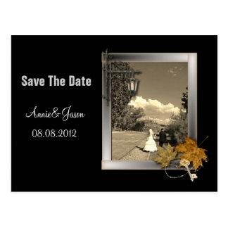 autumn leaves steampunk fall in love wedding postcard