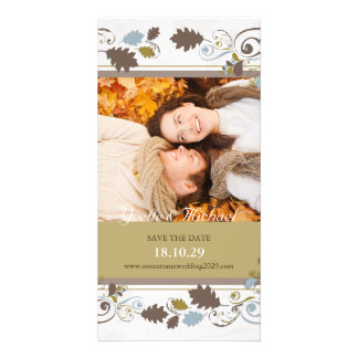 Autumn Leaves Swirls Save The Date Announcement Photo Cards