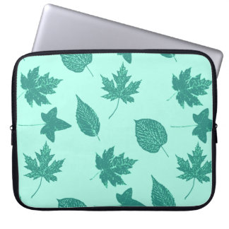 Autumn leaves - turquoise and aqua laptop sleeves