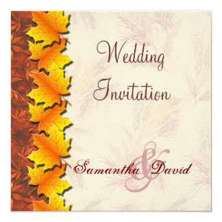 Autumn Leaves Wedding Invitation Card
