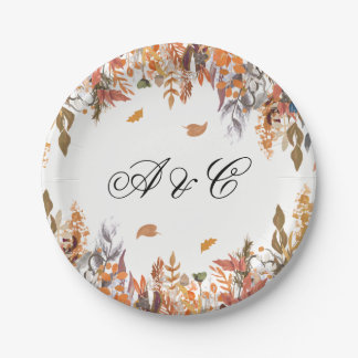 Autumn Leaves Wedding Party Paper Plates