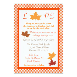 Autumn Love Leaf - 3x5 Wedding Invitation