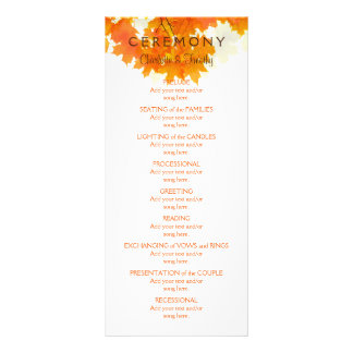 Autumn Maple Leaves Wedding Program Rack Card Template