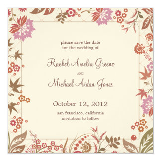 Autumn Medley Save the Date Wedding Card 13 Cm X 13 Cm Square Invitation Card
