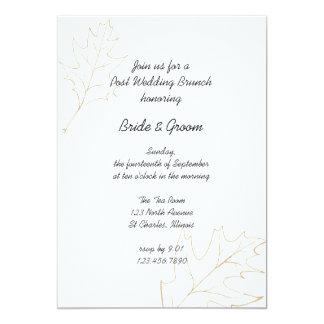 Autumn Oak Leaves Post Wedding Brunch Invitation