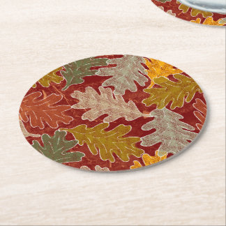 Autumn Oak Leaves Round Paper Coaster