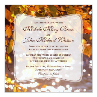 Autumn Orange Leaves Wedding Invitation
