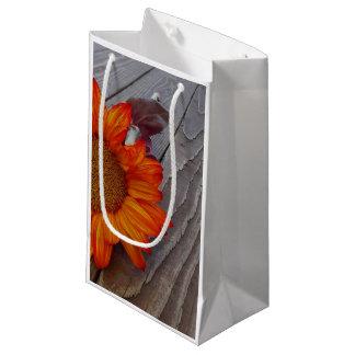 Autumn Orange Sunflower Blossom Small Gift Bag