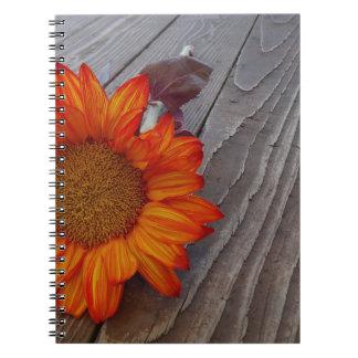 Autumn Orange Sunflower Blossom Spiral Notebook