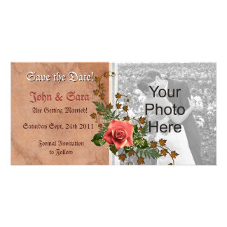 Autumn Peach Rose Save the Date Photo cards