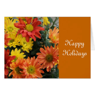 Autumn red, yellow,orange daisy happy holidays greeting card