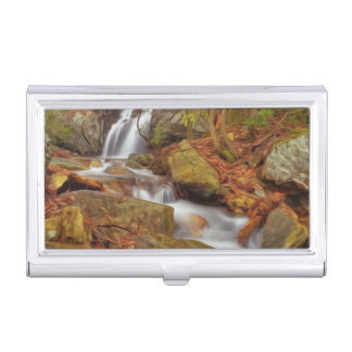 Autumn river with waterfall case for business cards