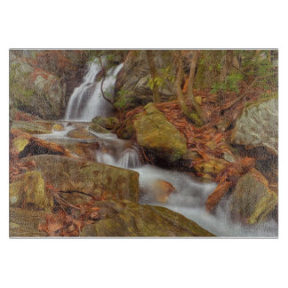Autumn river with waterfall cutting board
