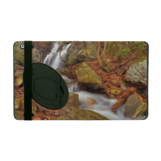 Autumn river with waterfall iPad cases
