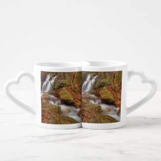 Autumn river with waterfall lovers mug set