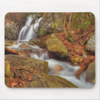 Autumn river with waterfall mouse pad