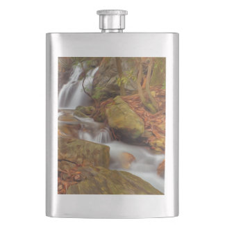 Autumn river with waterfall flasks