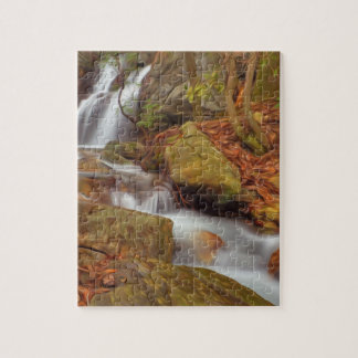Autumn river with waterfall jigsaw puzzle