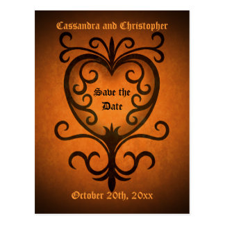 Autumn romance damask heart save the date postcard