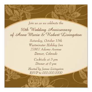 Autumn Rose Border Golden Wedding Anniversary 13 Cm X 13 Cm Square Invitation Card