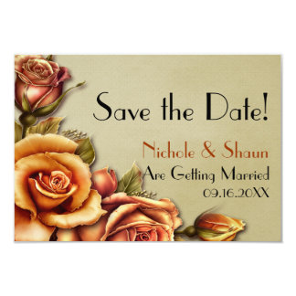 Autumn Rose Glow Floral Wedding - Save the Date Card