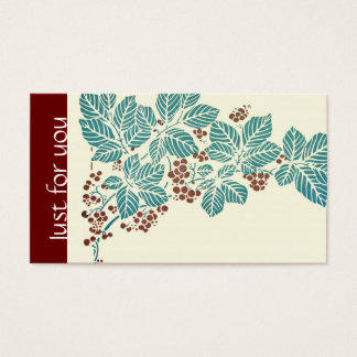 Autumn Season Botanical Ivy Leaves and Berries Business Card