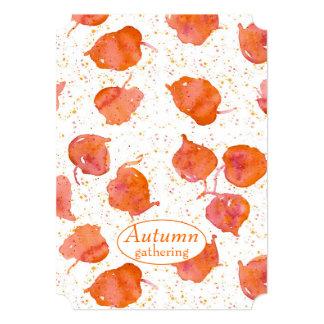 Autumn Season Party Watercolor Fall Leaves Card