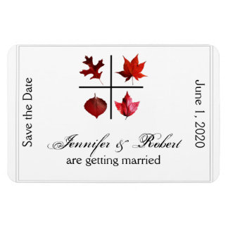 Autumn Square Fall Leaf Wedding Save the Date Magnet