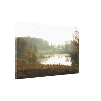 Autumn Sunrise Over Pond Canvas Print