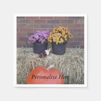 Autumn Thanksgiving Harvest Scene Disposable Serviettes
