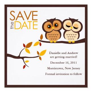 Autumn Themed Owls Wedding 13 Cm X 13 Cm Square Invitation Card