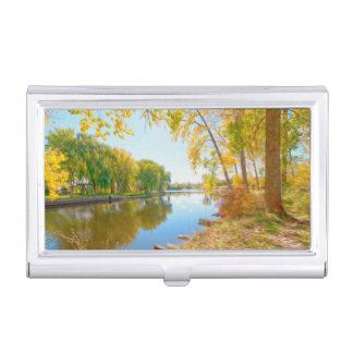 Autumn tree and river business card holder
