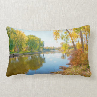 Autumn Tree And River Pillow