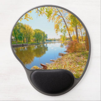 Autumn Tree And River Gel Mouse Pad