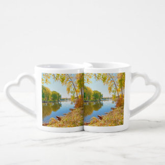 Autumn Tree And River Lovers Mugs