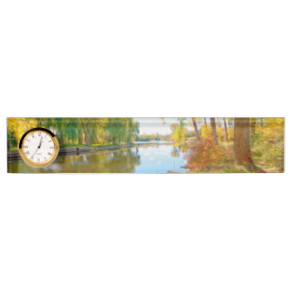 Autumn tree and river desk nameplate