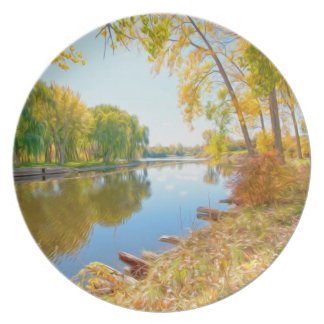 Autumn Tree And River Plates