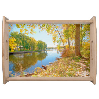 Autumn Tree And River Serving Platter