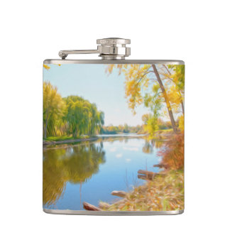 Autumn Tree And River Hip Flask