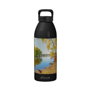 Autumn Tree And River Reusable Water Bottles