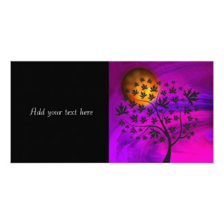 Autumn Tree Silhouette Abstract Art Photo Card Template