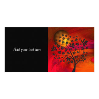 Autumn Tree Silhouette Painting Custom Photo Card