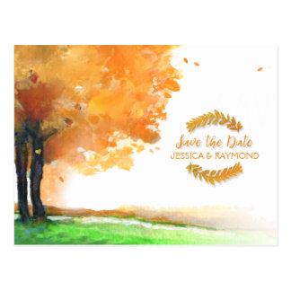 Autumn Trees Fall Save the Date Matching PostCard