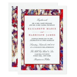 Autumn Watercolor Leaf Wedding Card