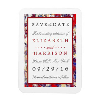 Autumn Watercolor Leaf Wedding Save The Date Magnet