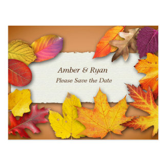Autumn Wedding, Fall Colors, Save the Date Postcard