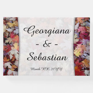 Autumn Wedding Fallen Leaves + Customized Names Guest Book