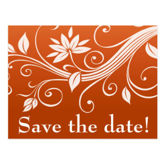 Autumn Whimsy White Pumpkin Save the Date Postcard